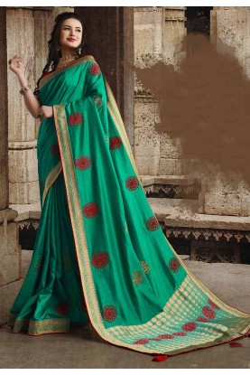 Dola Silk Designer Saree Sea Green Colour.
