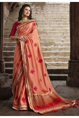 Peach Colour Silk Designer Saree.