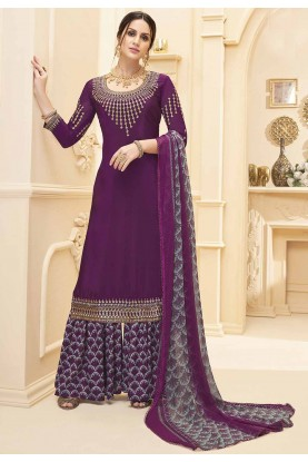 Wine Colour Designer Salwar Kameez.