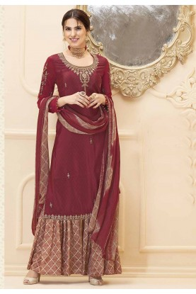 Maroon Colour Sharara Salwar Suit.