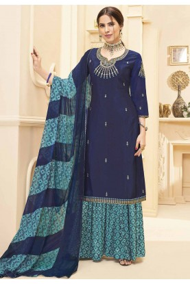 Navy Blue Colour Party Wear Salwar Suit.