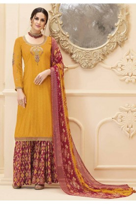 Yellow Colour Sharara Salwar Kameez.