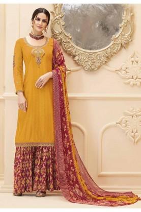 Yellow Colour Sharara Salwar Kameez.