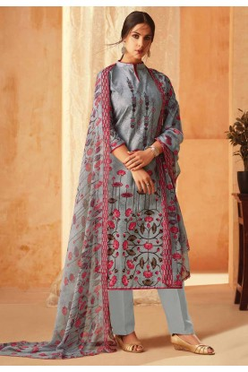 Printed Salwar Kameez Grey Colour.