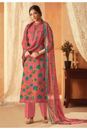 Peach Colour Casual Salwar Kameez.