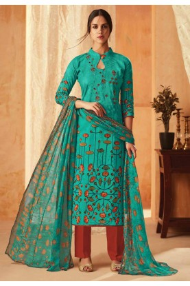 Sea Green Colour Cotton Salwar Suit.