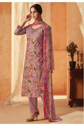 Purple Colour Flower Printed Salwar Kameez.