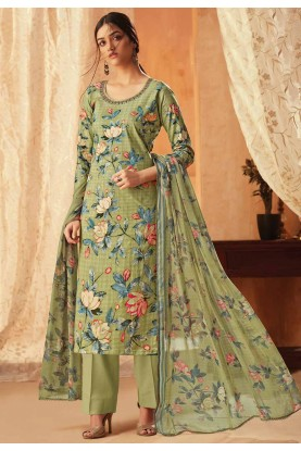 Pista Green Colour Printed Salwar Suit.