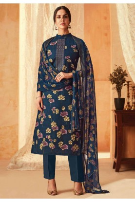 Navy Blue Colour Flower Print Salwar Suit.