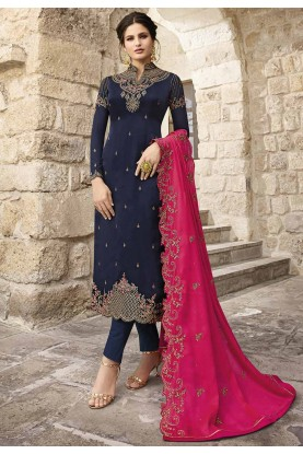 Navy Blue Colour Party Wear Salwar Kameez.