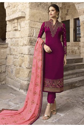 Designer Salwar Kameez Purple Colour.