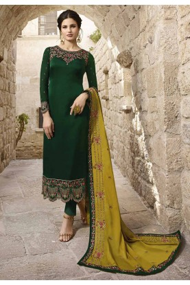 Dark Green Colour Georgette Salwar Suit.
