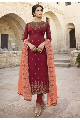 Maroon Colour Party Wear Salwar Kameez.