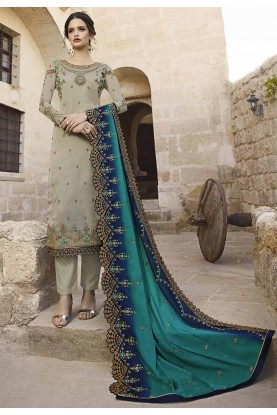 Grey Colour Georgette Salwar Kameez.