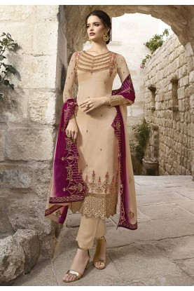 Cream Colour Women Salwar Kameez.