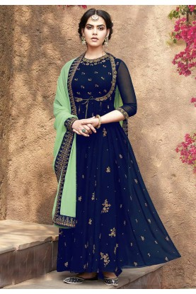 Blue Colour Designer Salwar Kameez.