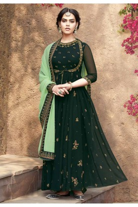 Anarkali Salwar Suit Forest Green Colour.