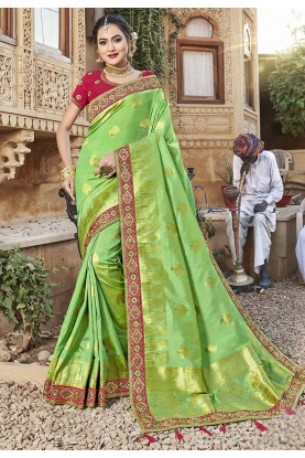 Light Green Colour Silk Traditional Saree.