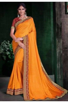 Designer Saree Yellow Colour.