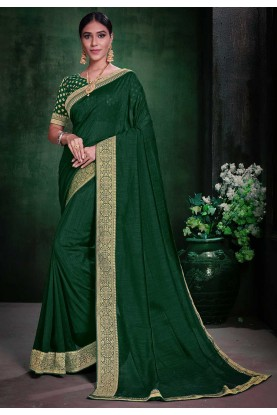 Weaving Saree Green Colour.