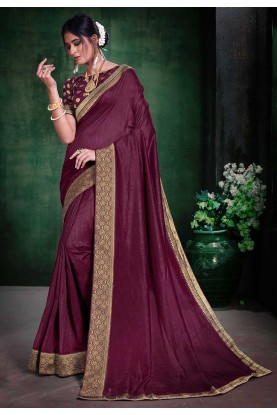 Wine Colour Party Wear Sari.