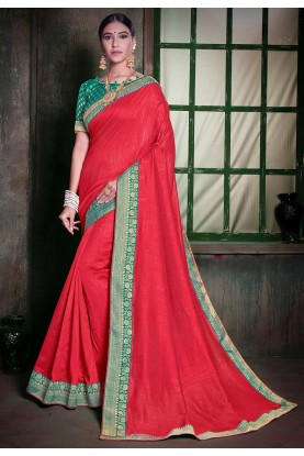 Red Colour Silk Designer Sari.