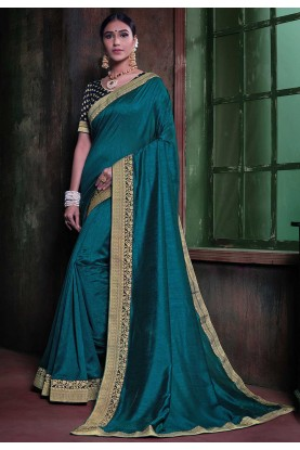 Teal Blue Colour Casual Saree.