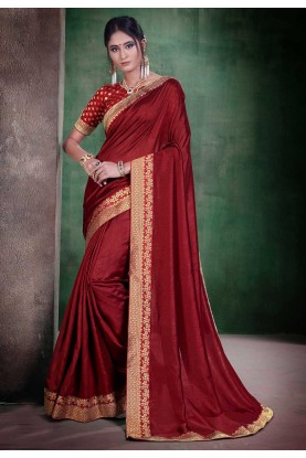 Party Wear Saree Maroon Colour.