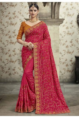 Redish Pink Colour Wedding Saree.