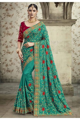 Green Colour Georgette Indian Saree.