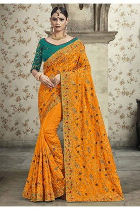 Orange Colour Embroidery Saree.