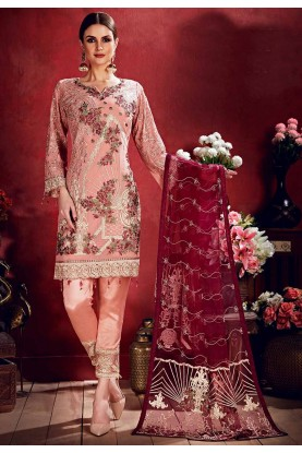 Peach Colour Party Wear Salwar Kameez.