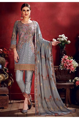 Designer Salwar Suit Grey Colour.
