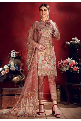 Brown Colour Party Wear Salwar Kameez.