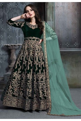 Dark Green Colour Designer Salwar Kameez.