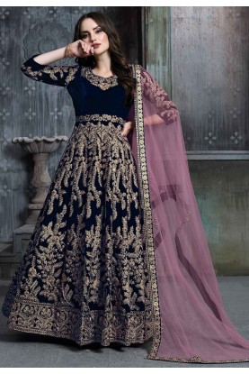 Navy Blue Colour Velvet Designer Salwar Suit.