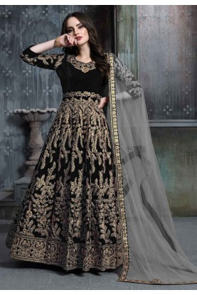 Party Wear Salwar Kameez Black Colour.