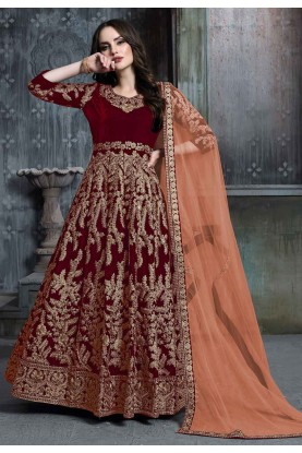 Maroon Colour Anarkali Salwar Suit.