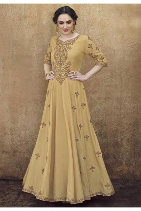 Beige Colour Designer Gown.