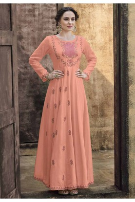 Peach Colour Silk Designer Gown.