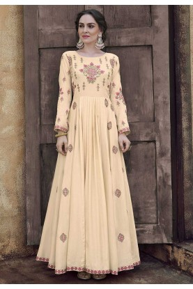 Cream Colour Silk Designer Gown.