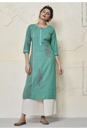 Green Colour Cotton Kurti.