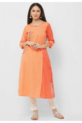 Casual Kurti Orange Colour.