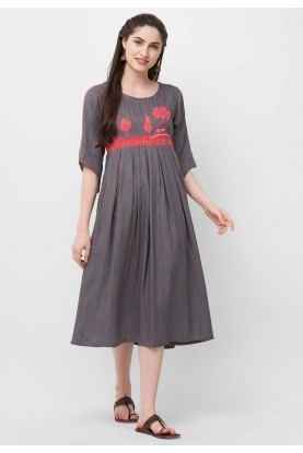 Rayon Kurti Grey Colour.
