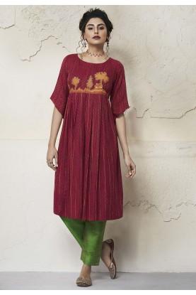 Maroon Designer Kurti Rayon Fabric.