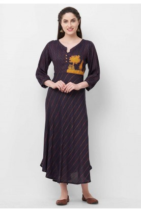 Navy Blue Colour Women's Kurti.