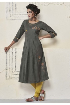 Resham Work Kurti Grey Colour.
