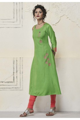 Green Colour Rayon Kurti.