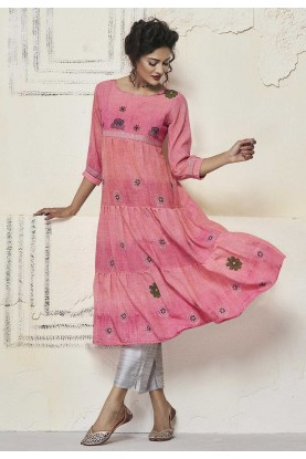 Pink Colour Cotton Readymade Kurti.