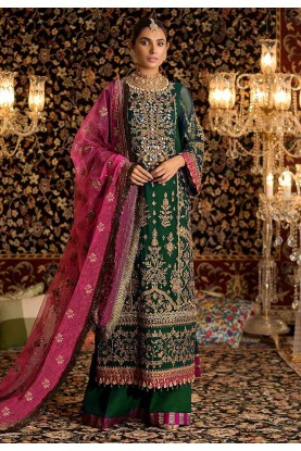 Green Colour Palazzo Salwar Suit.
